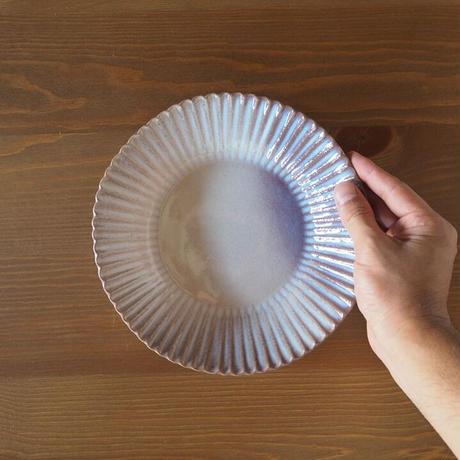 輪花7寸鉢【粉引紫】