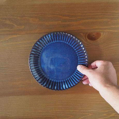 輪花6寸皿【青萩釉】