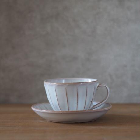 面取コーヒー碗皿【白萩釉】