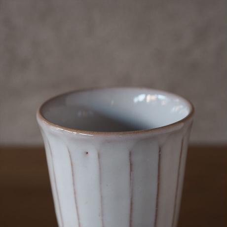 面取フリーカップ・小【白萩釉】
