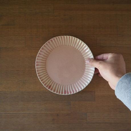 輪花6寸皿【ピンクベージュ】
