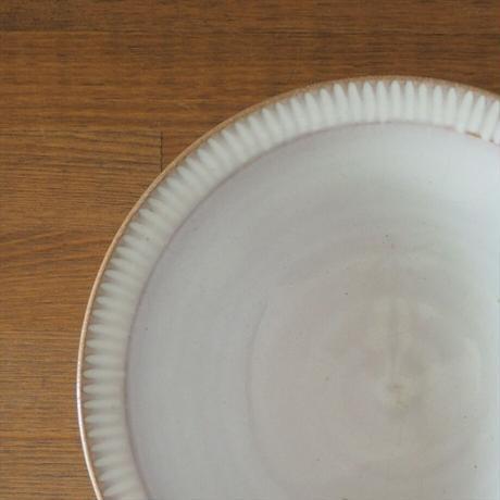しのぎリム7寸鉢(白萩釉)