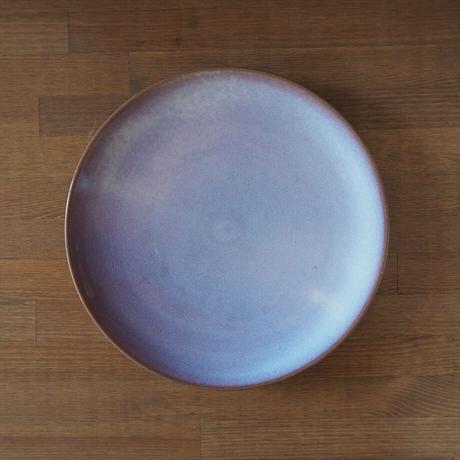 8寸丸皿【粉引紫】  タイプB