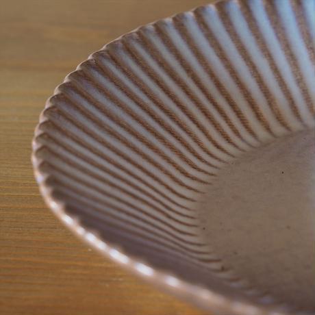 輪花8寸鉢【粉引紫】