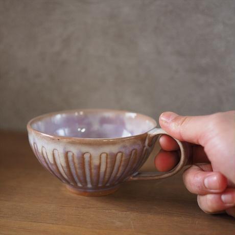しのぎスープカップ【粉引紫】