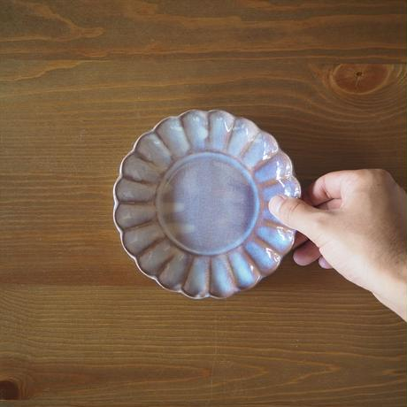 菊花5寸皿【粉引紫】
