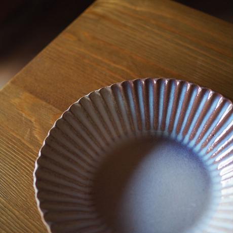 輪花6寸鉢【粉引紫】