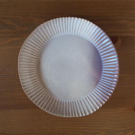 輪花8.5寸皿【粉引紫】