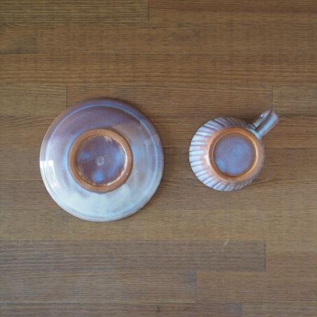 しのぎコーヒーカップ&ソーサー【粉引紫】