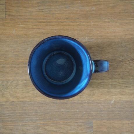 しのぎカフェオレカップ【青萩釉】
