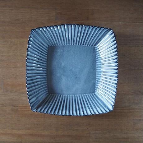 輪花8寸角鉢【グレー】