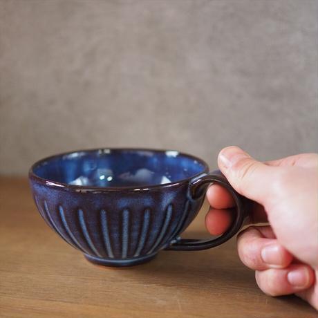 しのぎスープカップ【青萩釉】