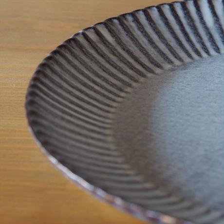 輪花8.5寸皿【グレー】