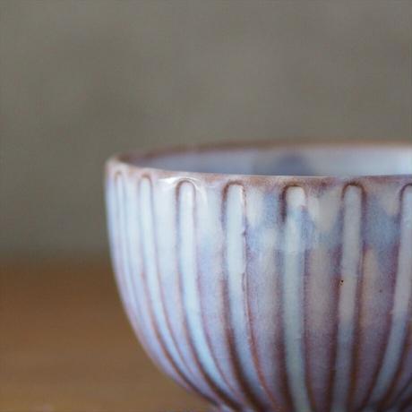 しのぎマグカップ【粉引紫】