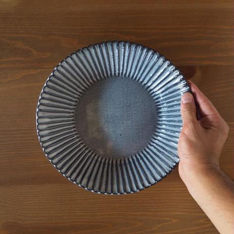 輪花8寸鉢【グレー】