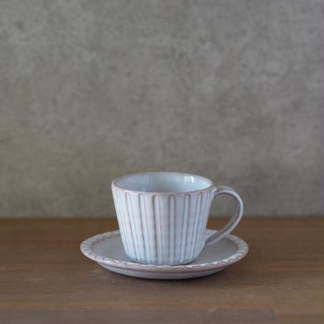 しのぎコーヒーカップ&ソーサー【白萩釉】