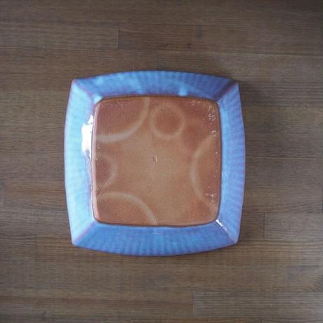 輪花8寸角鉢【粉引紫】