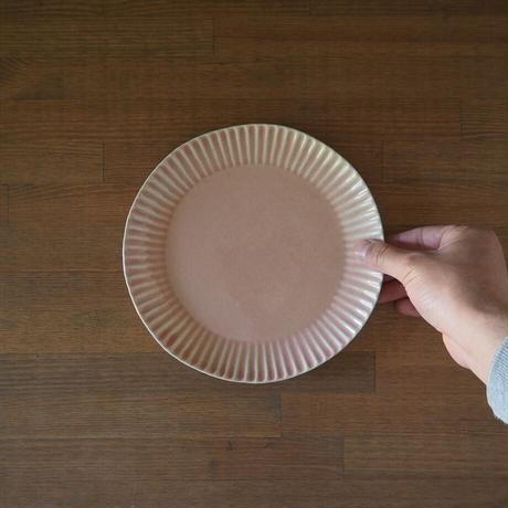 輪花7寸皿【ピンクベージュ】