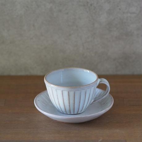 しのぎコーヒー碗皿(白萩釉)