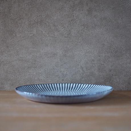 輪花8寸皿【グレー】