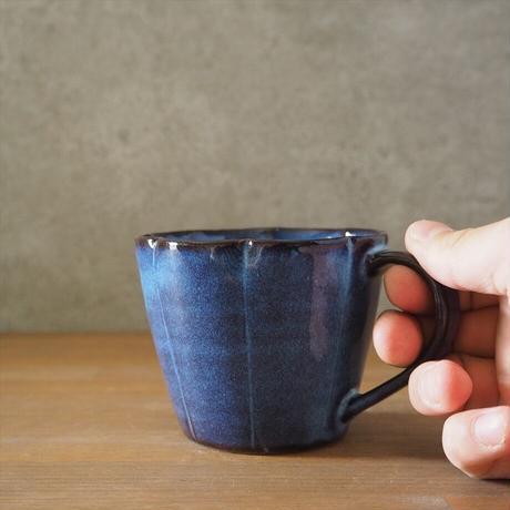 輪花マグカップ【青萩釉】