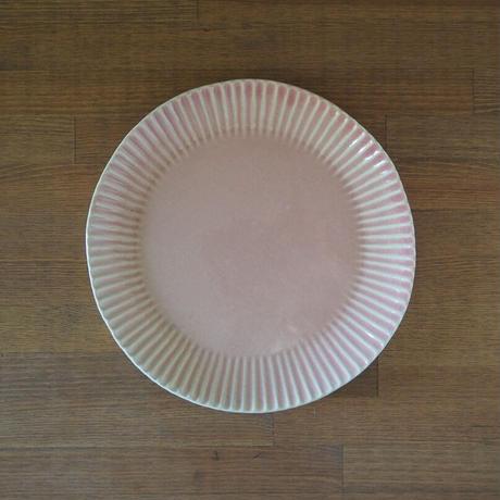 輪花8寸皿【ピンクベージュ】