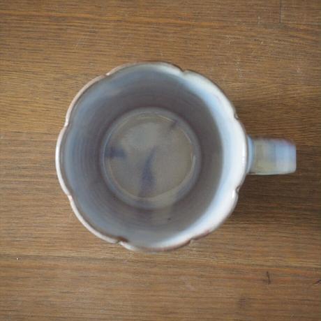 輪花マグカップ【粉引紫】