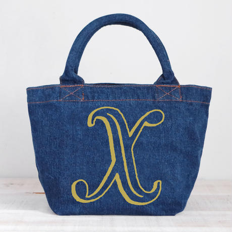 Organic Denim Initial Tote  X / Ginger Beach Inn Original