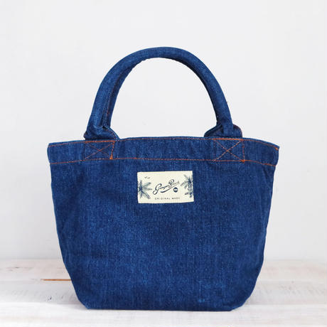 Organic Denim Initial  Tote C / Ginger Beach Inn Original