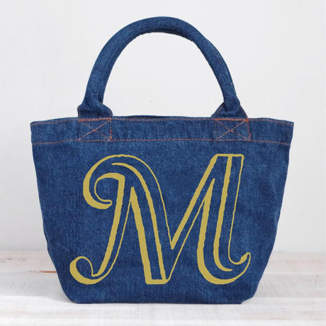 Organic Denim Initial Tote M / Ginger Beach Inn Original