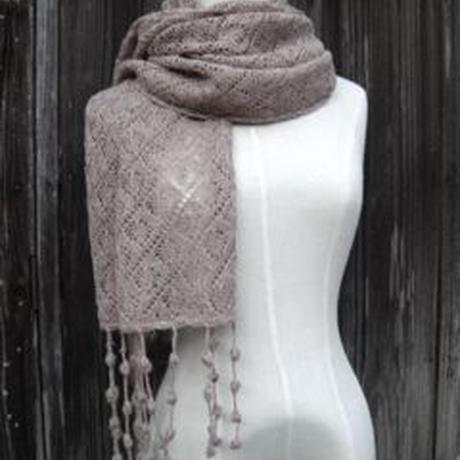 手編みアルパカ ボンボン付きショールとアームカバーセット/ナチュラルグレイ
