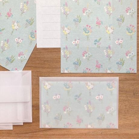 【merinomi】和紙のMini Letter Set bouquet(#76)