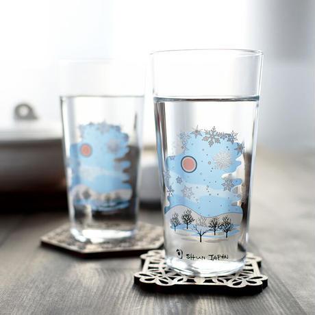 冷感雪結晶 スパークリンググラス ペアセット 箱入 / 丸モ高木陶器<CE-030>