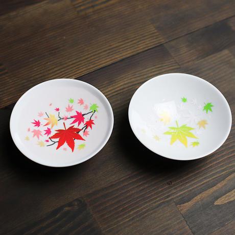 冷感紅葉 白平盃 ペアセット 箱入/ 丸モ高木陶器<CE-008>