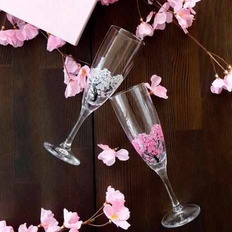 冷感桜 シャンパングラス ペアセット 箱入 / 丸モ高木陶器<CE-001>