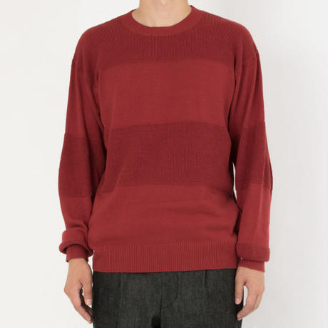 SON OF THE CHEESE / C100 border knit (WINE)
