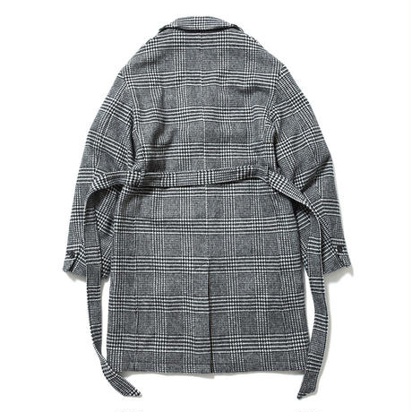 SON OF THE CHEESE / check gown coat (GLEN CHECK)