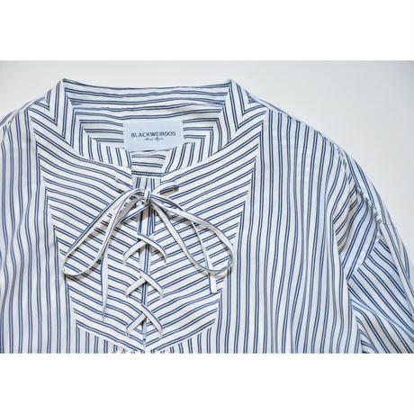 Black Weirdos / Lace-up Pullover Shirt (stripe) (Blue)