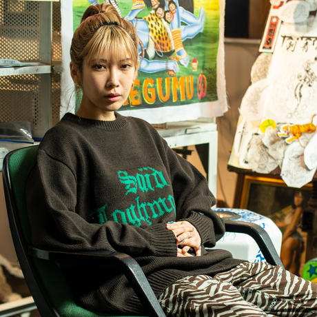 Black Weirdos / Jacquard Letter Sweater  ( Brown )