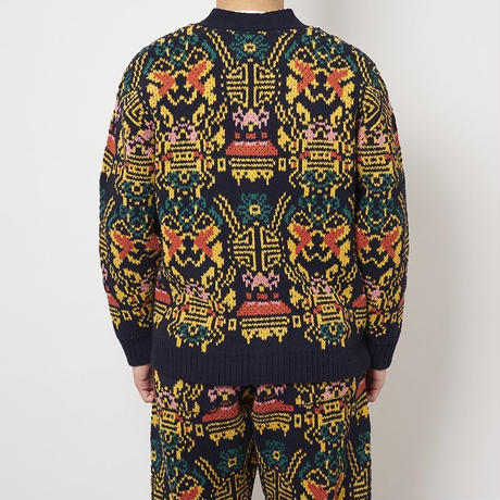 SON OF THE CHEESE / Wallpaper cardigan (NAVY)