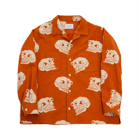 Black Weirdos / Skull-Pattern Flannel Shirt (Camel)
