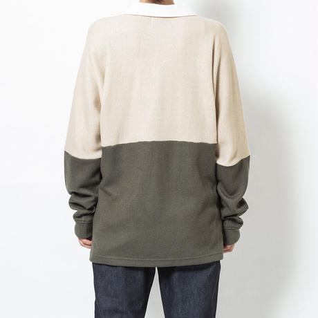 SON OF THE CHEESE / college shirt (BEIGE x OLIVE)