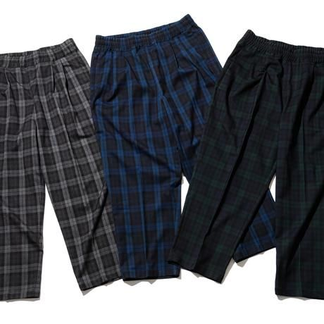 RUTSUBO /  TARTAN EASY PANTS (BLACK/GREEN)