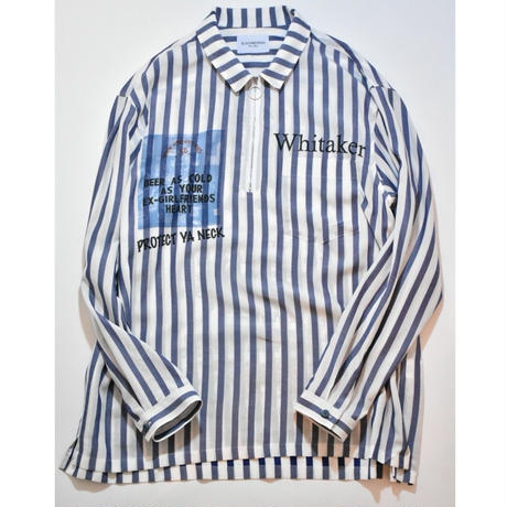 Black Weirdos / ZIP Pullover Shirt (stripe) (BLUE)