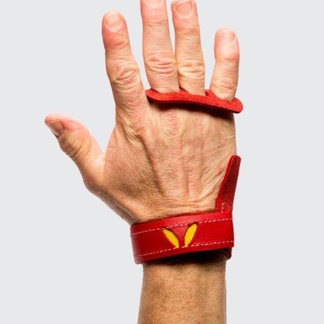 VICTORY GRIPS / MENS  LEATHER 3-Finger RED