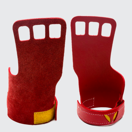 VICTORY GRIPS / WOMENS  LEATHER 3-Finger RED