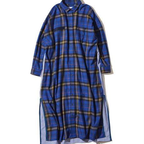 F/CE. SWITCHING CHECK LONG SHIRT Blue  [F2002FCWOP0011R]