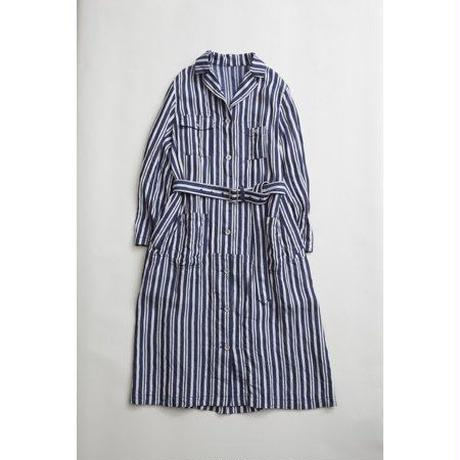Nigel Cabourn WOMAN WORKER DRESS - LINEN HICKORY  ダークネイビー [NIG039]