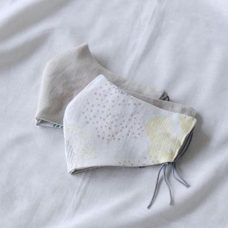 テキスタイルマスク / water lily / イエロー × グレー(表 / water lily )