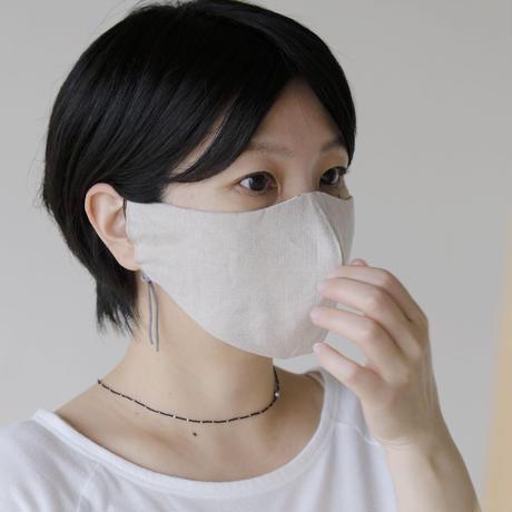 テキスタイルマスク / water lily / イエロー × グレー ( 表 /プレーンリネン )